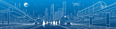 Illustration pour Trains ride on railroad. Passengers at station. Transport overpass. Monorail move. - image libre de droit