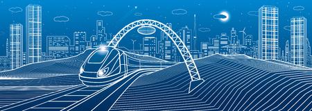Illustration pour Train under the bridge. Modern night town, neon city. Infrastructure illustration, urban scene. White lines on blue background. Vector design art - image libre de droit