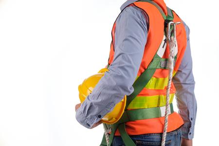 Photo pour engineer wear fall arrest equipment on white background - image libre de droit