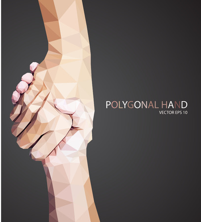 Illustration for Triangular hold hands,help sign vector - Royalty Free Image