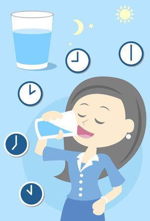 Ilustración de Woman drinking water all day - Imagen libre de derechos