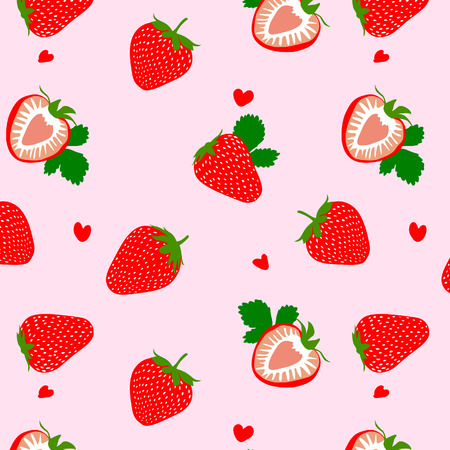 Illustration for Cute Heart Strawberry Pattern - Royalty Free Image