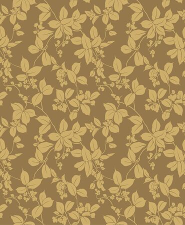 Ilustración de Japanese golden trailing leaf and flower pattern - Imagen libre de derechos