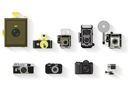 Illustration pour camera set . flat graphic history of camera - image libre de droit