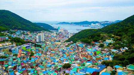 Photo for Aerial view of Gamcheon Culture Village located in Busan city of South Korea. - Royalty Free Image