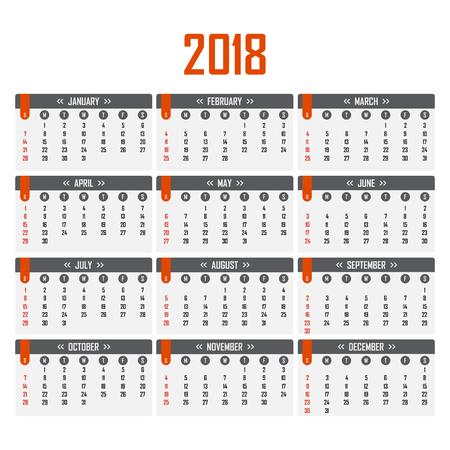 Illustration for Calendar for 2018. Week starts on Sunday - Royalty Free Image