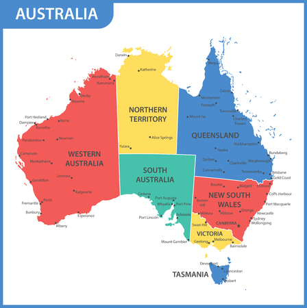 Illustration pour The detailed map of the Australia with regions or states and cities, capitals - image libre de droit