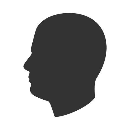 Illustrazione per Silhouette of male head, man face in profile, side view - Immagini Royalty Free