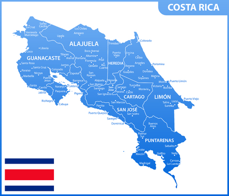 Illustration pour The detailed map of Costa Rica with regions or states and cities, capital. Administrative division - image libre de droit
