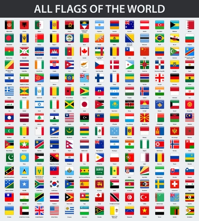 Illustration pour All flags of the world in alphabetical order. Square glossy style - image libre de droit