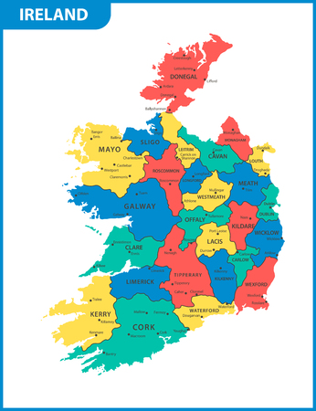 Illustration pour The detailed map of the Ireland with regions or states and cities, capitals - image libre de droit