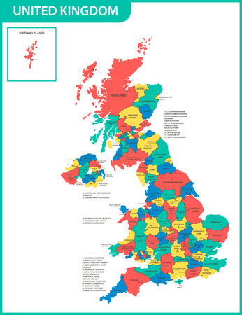 Ilustración de The detailed map of the United Kingdom with regions or states and cities, capitals. Actual current relevant UK, Great Britain administrative devision. - Imagen libre de derechos