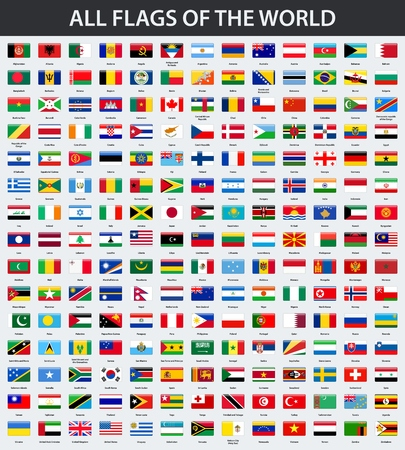 Illustration pour All flags of the world in alphabetical order. Rectangle glossy style - image libre de droit