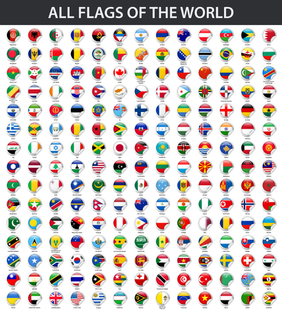 Illustration pour All flags of the world in alphabetical order. Round glossy sticker style - image libre de droit