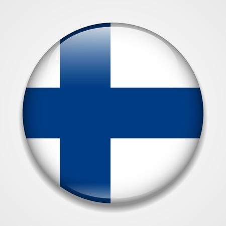 Illustration pour Flag of Finland. Round glossy badge - image libre de droit