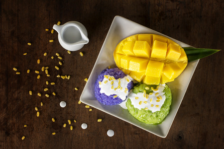 Photo for Thai style tropical dessert, Mango sticky rice. - Royalty Free Image