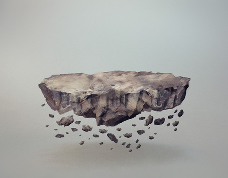 Photo pour A levitating rock, with crumbling bits - image libre de droit
