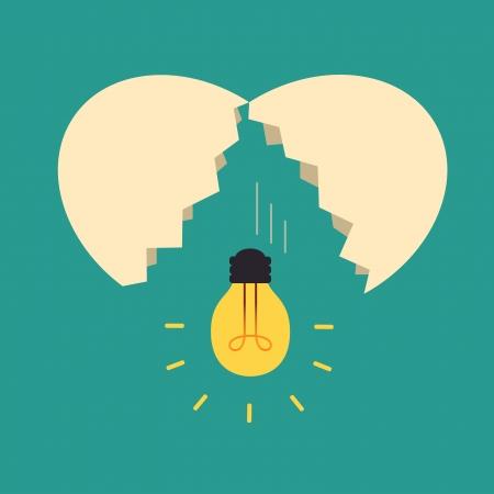 Illustration pour Broken egg with light bulb Idea, Idea concept - image libre de droit
