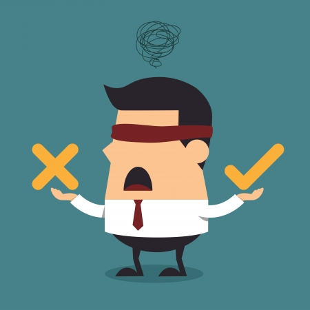 Illustration pour Blindfolded businessman thinking with right and wrong symbol, Business concept - image libre de droit