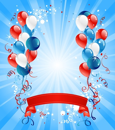 Illustration pour Blue, red and white balloons - image libre de droit