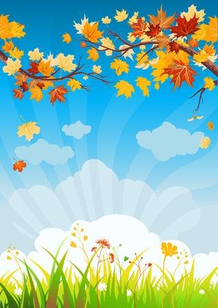 Illustration pour Autumn leaves and grass with space for text   - image libre de droit