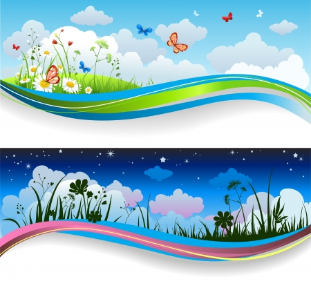 Illustration pour Day and night summer banners - image libre de droit