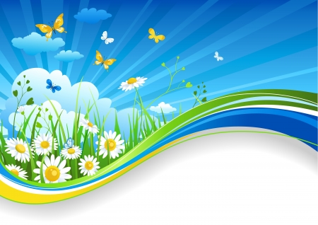 Illustration pour Summer banner with chamomiles and clouds - image libre de droit