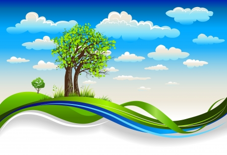Illustration pour Beautiful  trees under the bright spring sky with clouds - image libre de droit