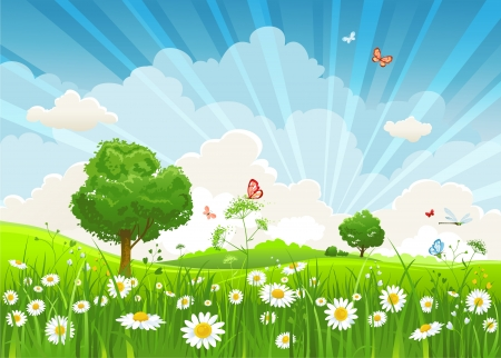 Illustration pour Summer landscape with trees and meadow of flowers  - image libre de droit