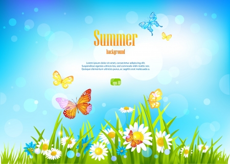 Illustration for Sunny day background and flowers with space for text. - Royalty Free Image