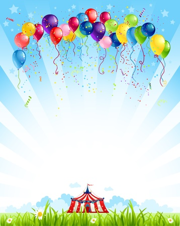 Illustration pour Traveling circus  under blue sky and bunch of balloons - image libre de droit