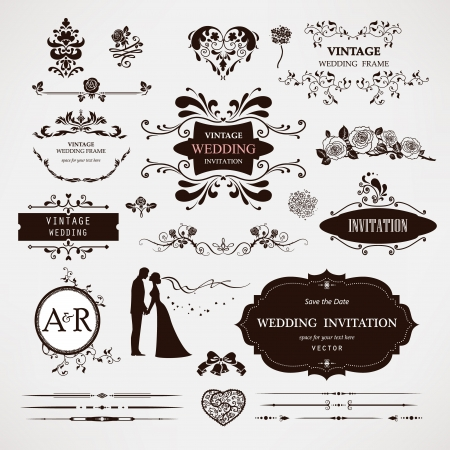 Foto de design elements and calligraphic page decorations for wedding - Imagen libre de derechos