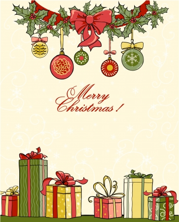 Ilustración de Christmas background with gifts - Imagen libre de derechos