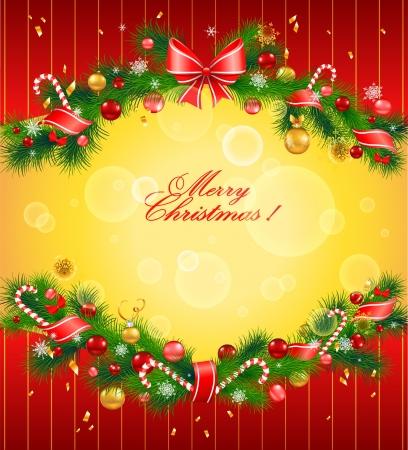 Ilustración de Christmas festive background with fir tree - Imagen libre de derechos