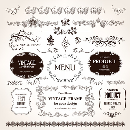 Photo for Vector vintage frames and design calligraphic elements set - Royalty Free Image