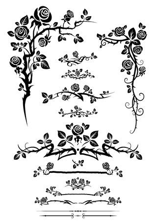 Illustration pour Ð¡alligraphic floral elements set with roses. - image libre de droit