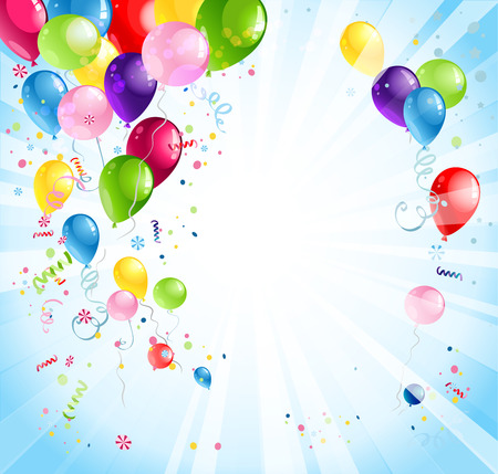 Ilustración de Bright holiday background with balloons and flags - Imagen libre de derechos