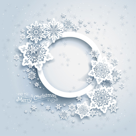 Illustration for Christmas frame on snow background with space for text - Royalty Free Image