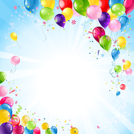 Illustration pour Happy birthday background with balloons  - image libre de droit