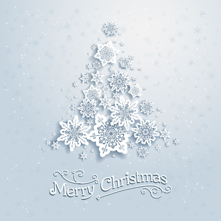 Photo for Christmas tree from snowflakes. Vector background with place for text - Royalty Free Image