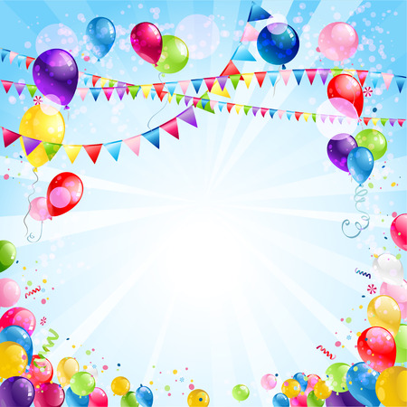 Illustration for Festive bright background with balloons and flags - Royalty Free Image