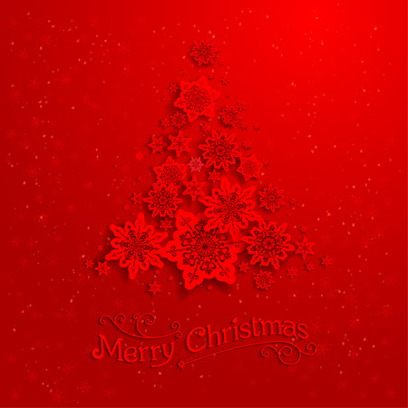 Illustration for Red Christmas tree with snowflakes - Royalty Free Image