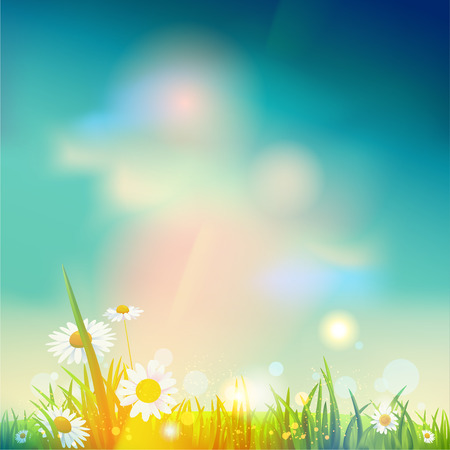 Illustration for Summer sunrise or sunset background with place for text - Royalty Free Image