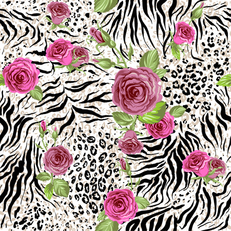 Foto de Animal skin and roses. Seamless repeating pattern - Imagen libre de derechos