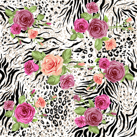 Illustration pour Seamless pattern with animal prints and decorative roses - image libre de droit