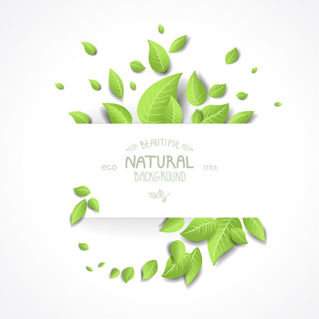 Illustration for Abstract eco background with fresh green leaves. Place for text. - Royalty Free Image