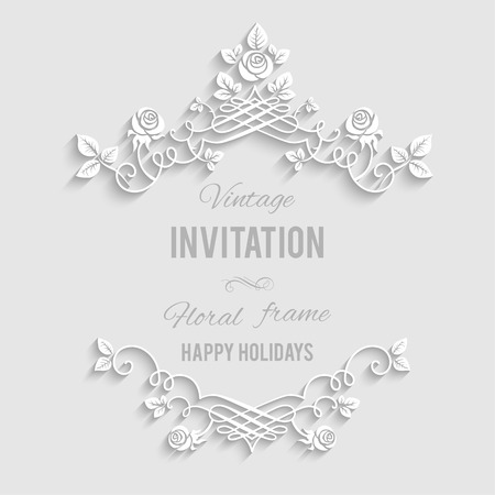Ilustración de Elegant floral frame with place for text. Festive backdrop for greetings, invitations or any text - Imagen libre de derechos