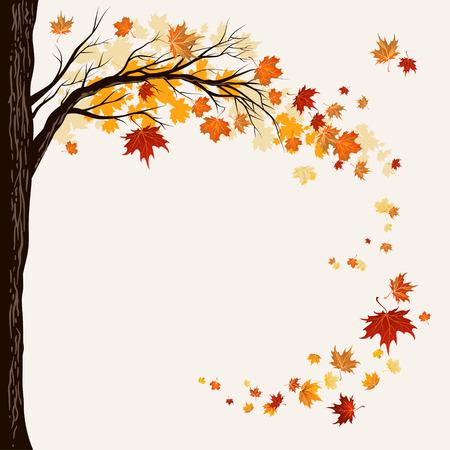 Illustration pour Flying maple leaves with copy space. - image libre de droit