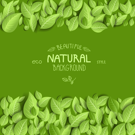 Ilustración de Natural background and leaves with space for text - Imagen libre de derechos