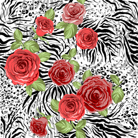 Illustration for Repeating animal pattern and flowers. Seamless background - Royalty Free Image
